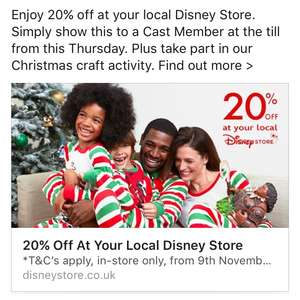 20% off everything at Disney store from 09/11