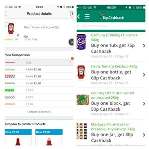 Heinz ketchup 50p in poundstretcher, 60p from topcashback. FREE plus 10p profit!