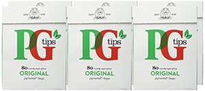 PG tips 80s Pyramid Teabags 232g (Pack of 6, Total 480 Teabags) £4.32 (Add-on Item) @ Amazon