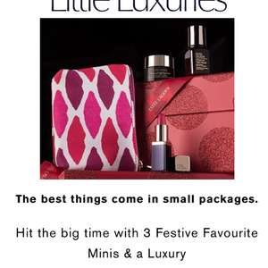 3 Festive Favourite Minis & a Luxury Beauty Bag, FREE with any Christmas Set purchase at esteelauder