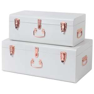 Beautify Set Of 2 Cream & Rose Gold Steel Storage Trunks (rrp £99.99) £41.99 Del @ Domu (Stove Fans Half price at £24.99 + more in OP)
