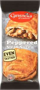 Ginsters Peppered Steak Slice (170g) + 5 other varieties was £1.50 now £1.00 (Rollback Deal) @ Asda