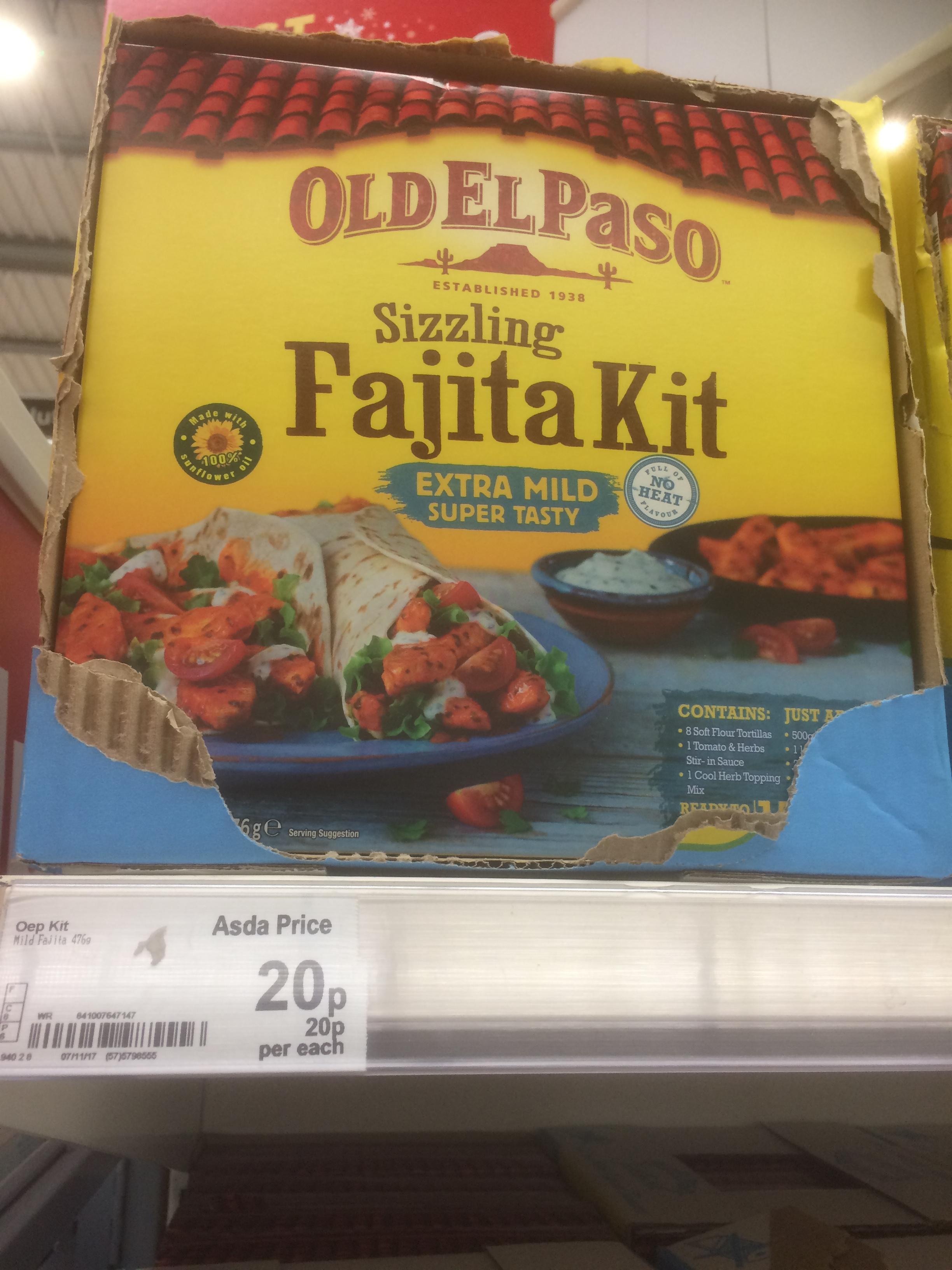 Old El Paso sizzling Fajita kit 20p @ Asda - Chesser Aven