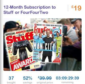 12 months subscription to Stuff or FourFourTwo £19.99 @ Living Social
