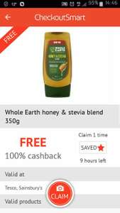 Whole Earth Honey & Stevie Blend 350g @ Tesco and Sainsbury via Checoutsmart for free. You can purchase from Sainsbury too.