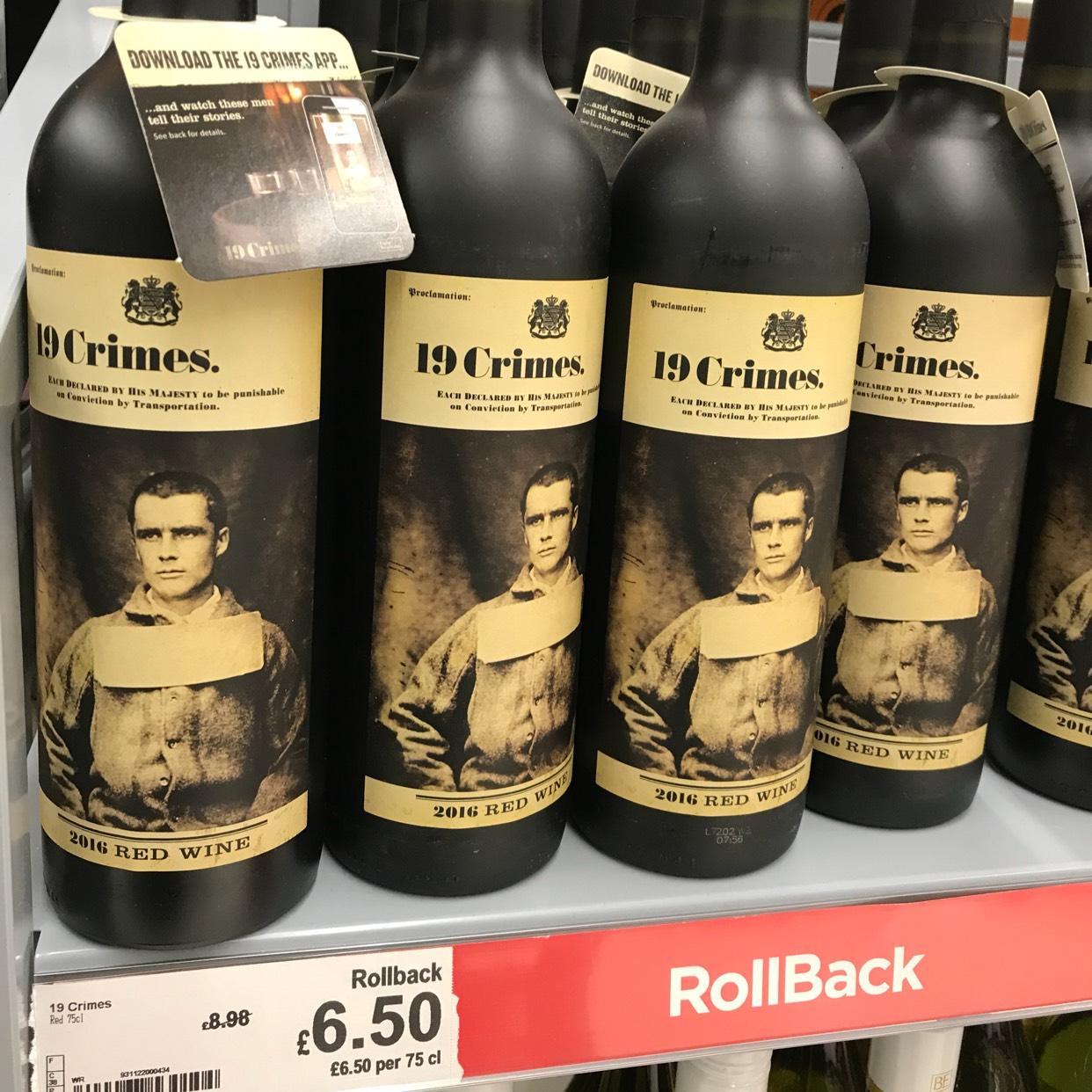 19 Crimes red wine down to £6.50 per bottle @ Asda