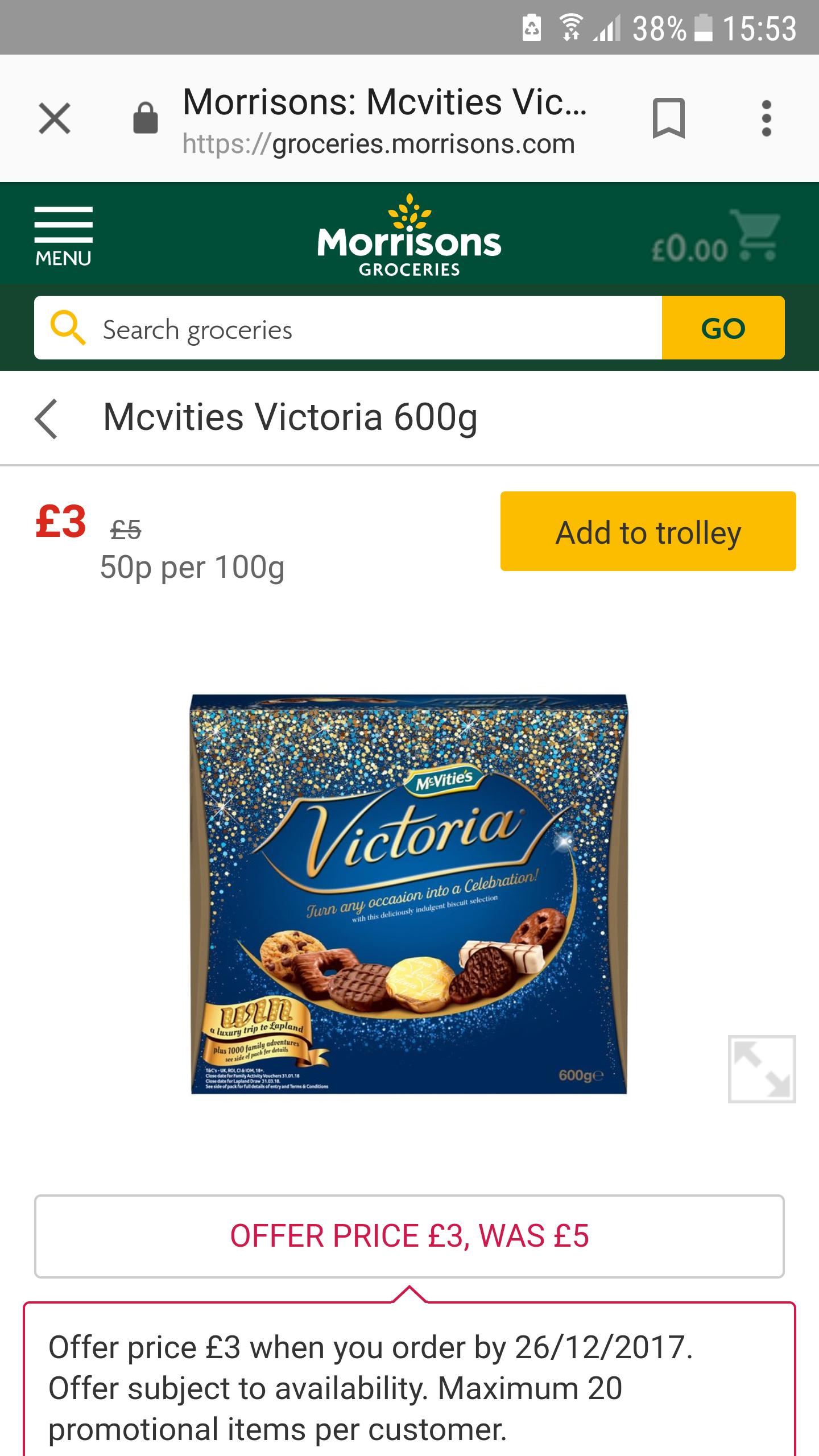 Mcvitie's Victoria biscuits 600g £3 @ Morrisons