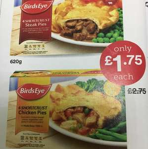 Birds Eye Chicken Pies and Steak Pies 4 pack £1.75 in Iceland