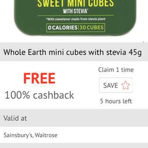 Free Whole Earth mini cubes with stevia via checkoutsmart