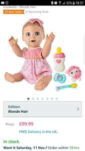 Luvabella Blonde in stock £99 on Amazon