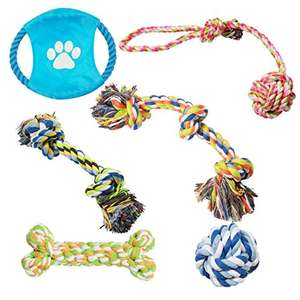Pecute Dog Rope Toys Sturdy Durable Chew Toys for Small and Medium Dogs - 6 Pack Gift Set £2.99 (Prime), £6.98 (Non-Prime) With Code @ Musen-Shiye Fulfilled By Amazon
