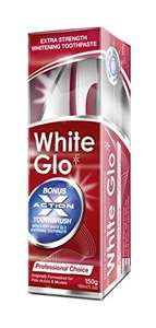 White Glo Professional Choice Extra Strength Whitening Toothpaste £2 (Add On) @ Amazon [Comes with Anti-Stain Toothbrush & White Glo Dental Flosser Toothpicks]