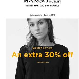 Extra 30% off on Mango -  Online exclusive