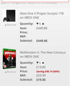 New Xbox one x 1 tb+ wolfenstein-ii-the-new-colossus £469.71 - Shopto