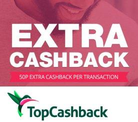 50p Cashback bonus on up to 5 purchases this weekend @ TopCashBack