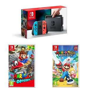 Nintendo Switch Neon + Super Mario Odyssey + Mario Rabbids Kingdom Battle £329.99 @ Game [Physical copies of Games]