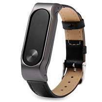 Stainless Steel Metal Case with a Genuine Leather Watch Strap for Xiaomi Miband 2 £3.44 w/code @ Miniinthebox