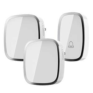 Wireless Doorbell, Weatherproof Wall Plug-in Cordless Door Chime at 1000-feet Range with 36 Tunes, 1 Push Button & 2 Receivers without Battery Required £10.19 Sold by MonMall and Fulfilled by Amazon. - lightning deal