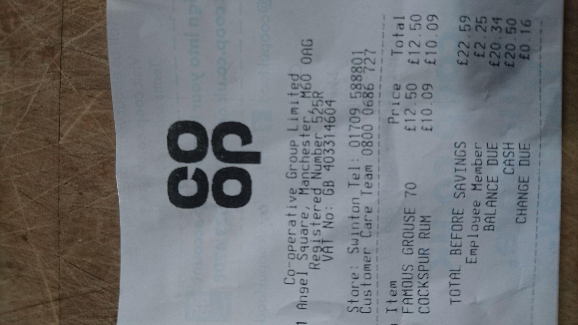 Cockspur 70cl - £10.09 at Co-op instore