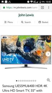 Samsung UE55MU6400 HDR 4K Ultra HD Smart TV, 55 - John Lewis Price Match to £648 using Hills Radio price