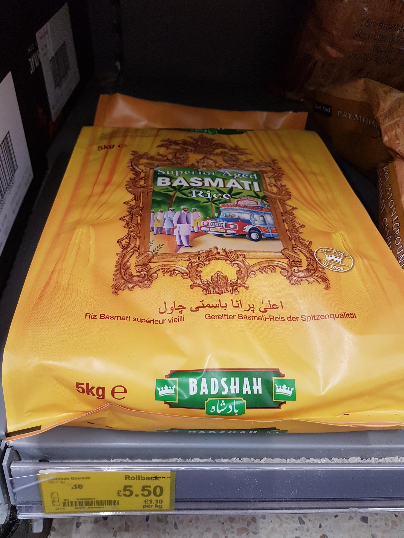 Badshah Basmati Rice 5Kg  £5.50 @ Asda
