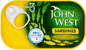 John West Sardines in Olive Oil (120g Drained Weight = 90g) was £1.00 now 75p @ Morrisons