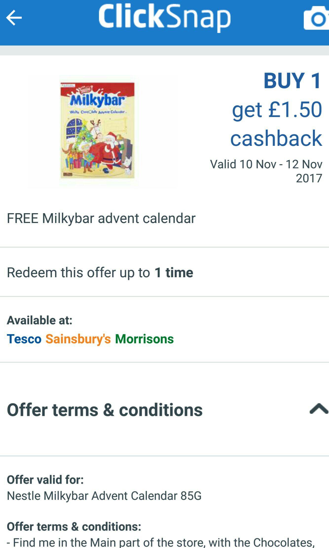 Free Milkybar Advent Calendar at Clicksnap (£1 spend)