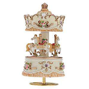 Laxury Windup 3-horse Carousel Music Box Artware/Gift Melody Castle in the Sky Pink/Purple/Blue/Gold Shade for Option£11.88  Fulfilled by Amazon