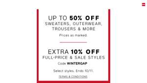 Up to 50% off plus an extra 10% off GAP online and instore
