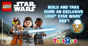 18th-19th 11am -1pm Nov-Build and Take Home an Exclusive LEGO Star Wars Mini BB-8 at Toys 'R' Us!