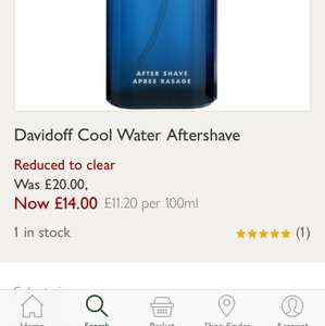 Cool water aftershave 125ml £14 @ John Lewis