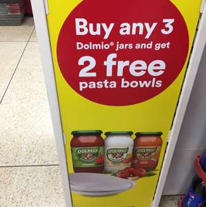 Two free pasta bowls with purchase of 3x dolmio jars at Iceland