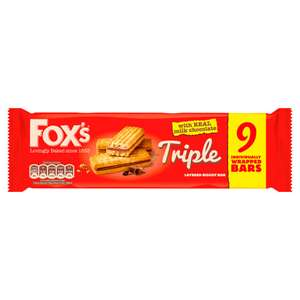 Fox's Triple Layered Biscuit 9 Bars 171 grams , get 3 packets = 513g for £1 @ Poundland