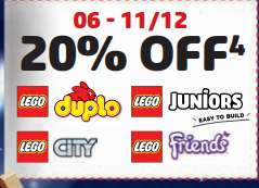 20% OFF LEGO CITY, LEGO FRIENDS, LEGO DUPLO AND LEGO JUNIORS BETWEEN 06/12 TO 11/12 @ Lego Store