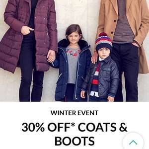 Debenhams 30% off coats and boots + Extra 10% off on £50+ Spend w/code