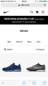 Extra 11% off in Nike sale with code