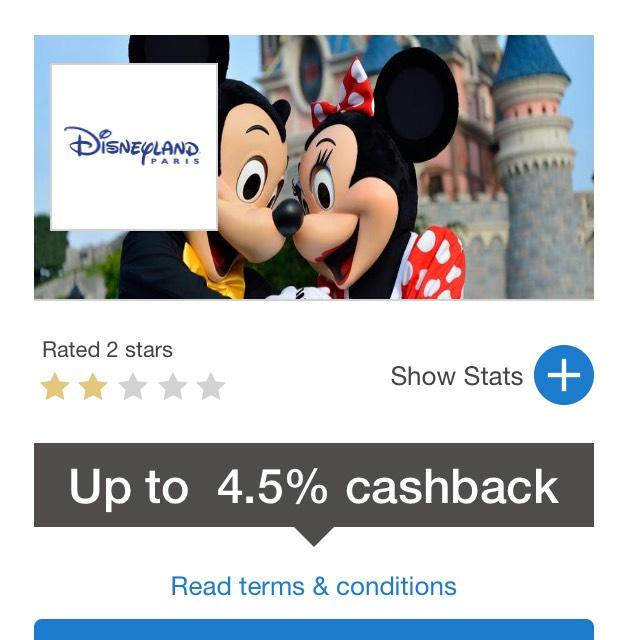 Quidco 4.5% cashback on Disneyland Paris bookings