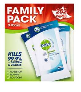 3 packs anti-bacterial dettol surface wipes (84 in each pack, 252 wipes in total) £3.75 with voucher, Amazon subscribe and save