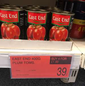 East End plum tomatoes 39p each and 4 for £1 in B&M instore.