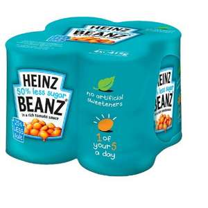 Heinz Baked Beans 50% less Sugar (4 x 415g Pack) was £1.99 now ONLY 29p @ Poundstretcher
