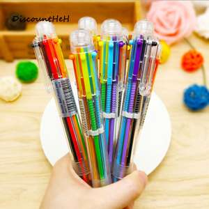 2017 Creative Novelty Multicolor Ballpoint Pen Multifunction 6 Colors Stationery School Supplies plus 7%TCB 30p @ Aliexpress