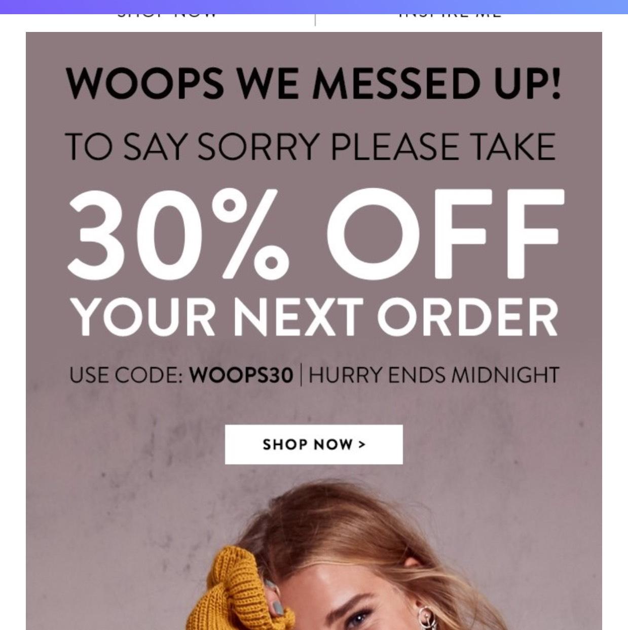 30% off code @ Boohoo