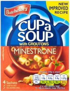 Batchelors Cup a Soup Minestrone with Croutons (94g each sachet pack of 4) was £1.07 now 5 Packs for £3.00 @ Asda
