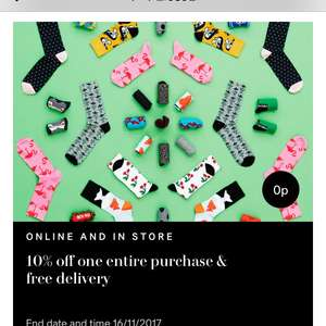 10% off one entire purchase & free nominated day delivery @ H&M via app