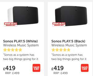 Sonos Play 5 with 6 year guarantee £419 at Richer Sounds