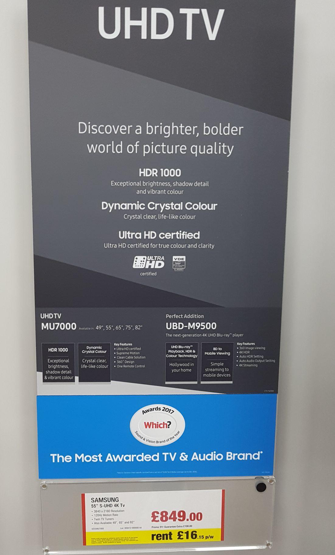 "Samsung 55"" UE55MU7000 + Samsung UBDK8500 4K UHD Blu-Ray Player £849 instore @ Hughes"