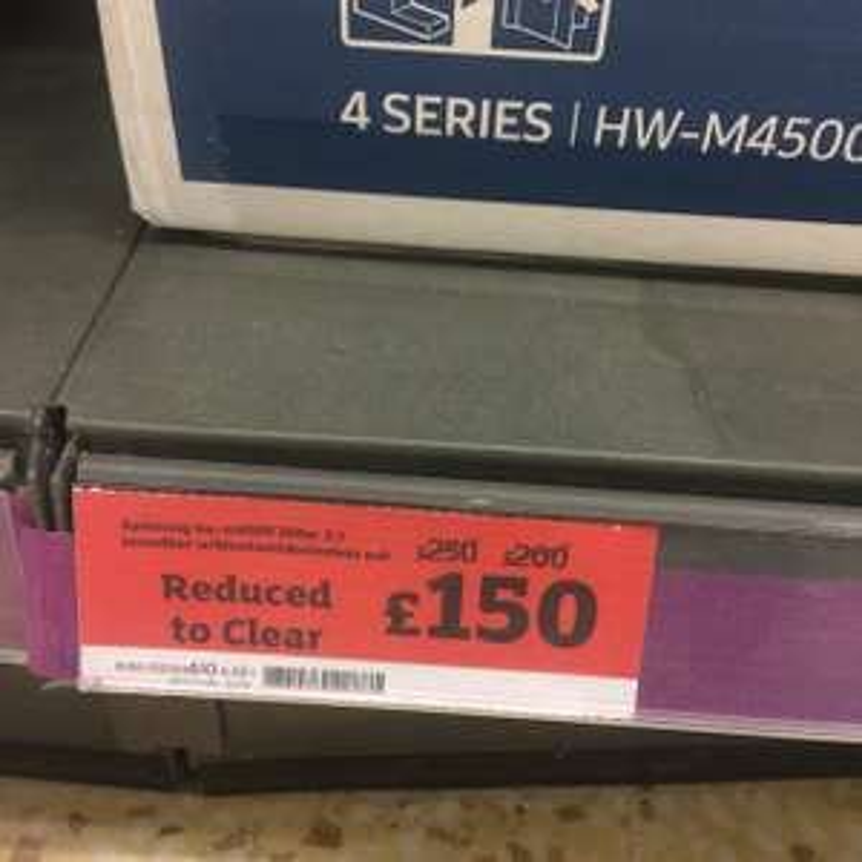 samsung hw-m4500 soundbar and subwoofer instore at Sainsbury's for £150