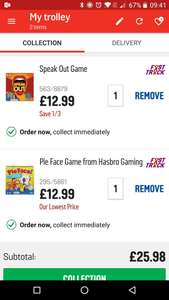 Pie face and speak out games 1/3 off at argos! Plus an extra 20% off with code FLASH20
