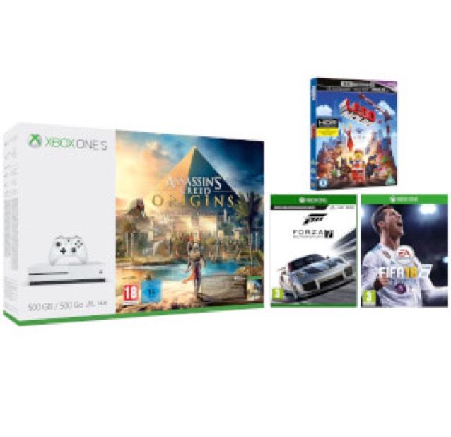 Xbox One S - 1TB model - with Lego Movie 4K Blu-ray, Assassin's Creed Origins, Forza 7 and FIFA18, possibly also Rainbow Six Siege £259.99 @ Zavvi
