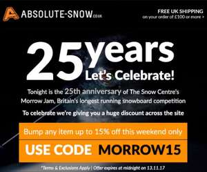 15% off full price items at Absolute Snow